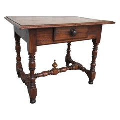 Italian Baroque Walnut and Chestnut Side Table