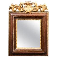Italian Baroque Walnut and Parcel Gilt Mirror, Late 17th Century