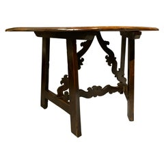 Italian Baroque Walnut Demilune Console Table