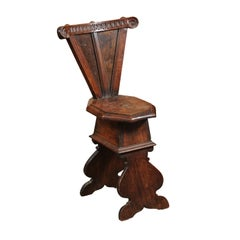Italian Baroque Walnut Hall Chair, Late 17th Century