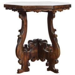 Italian Baroque Walnut Octagonal Center Table, Late 17th Century