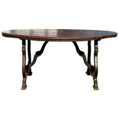 Italian Baroque Walnut Oval Dining Table