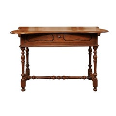 Italian Baroque Walnut Serpentine Console Table, Late 17th Century