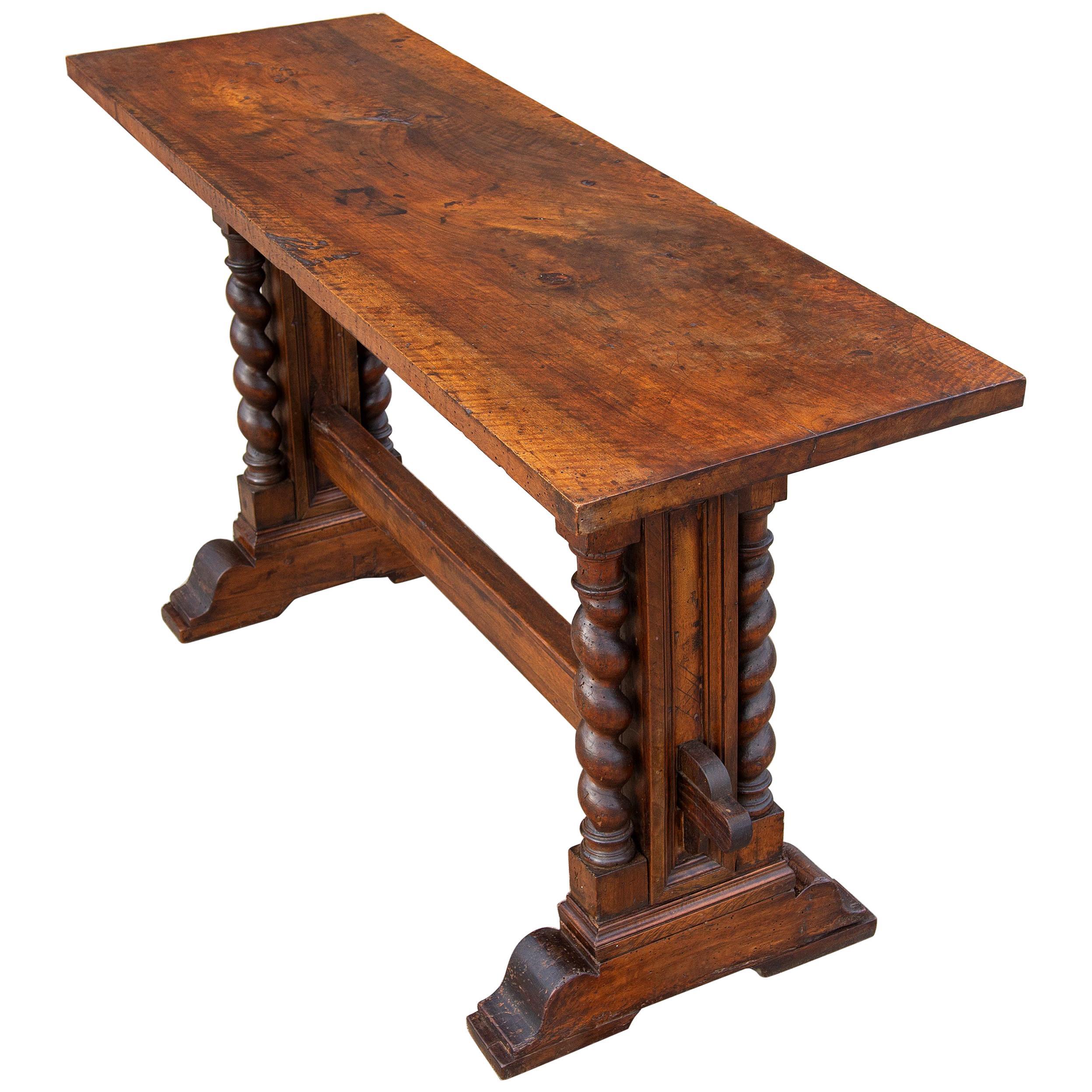 Italian Baroque Walnut Trestle Sofa or Console Table
