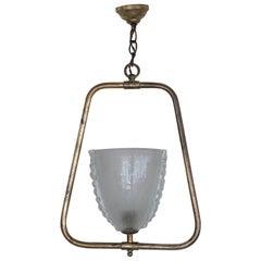 Italian Barovier Glass and Brass Pendant Light