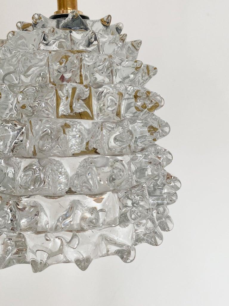 Brass Italian Barovier Glass Pendant For Sale
