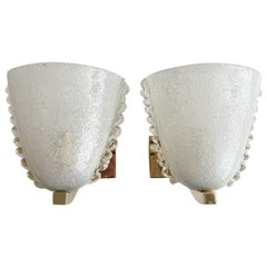 Italian Barovier Scalloped Glass Sconces