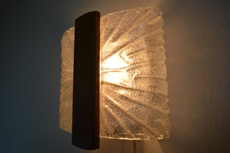 Italian Barovier & Toso Sconces Wall Light Murano, Ice Glass Lamp, 1970s For Sale 4