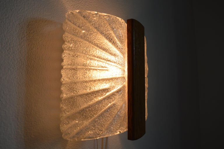 Italian Barovier & Toso Sconces Wall Light Murano, Ice Glass Lamp, 1970s For Sale 3