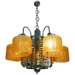 Italian Barovier Toso Style Murano Amber Art Glass & Chrome Sputnik Chandelier