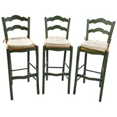 Italian Barstools with Plaid Seat Cushions