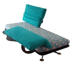 Italian B&B Turquoise and Floreal Fabric Daybed, Sofa with Back Rotation