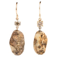Italian Beach Stone and Brown Diamond Earrings