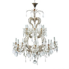 Italian Beaded and Glass Drop Sixteen-Light Chandelier Unwired Genoa, circa 1930