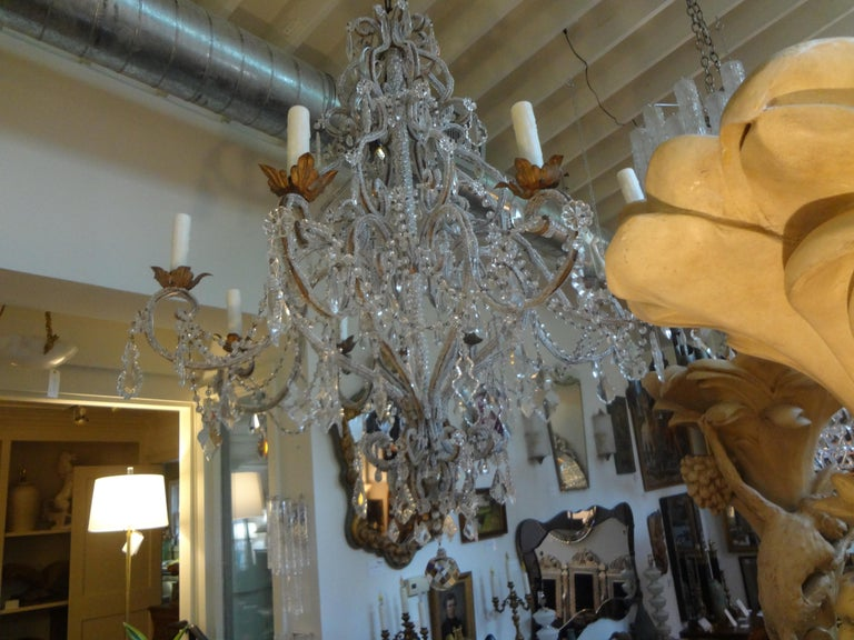 Italian Beaded and Crystal Eight-Light Chandelier For Sale 4