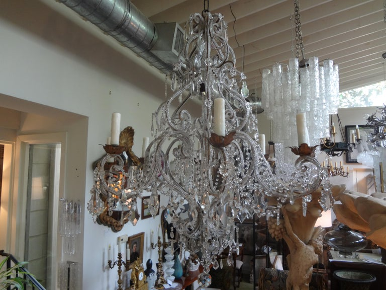 Italian Beaded and Crystal Eight-Light Chandelier For Sale 5