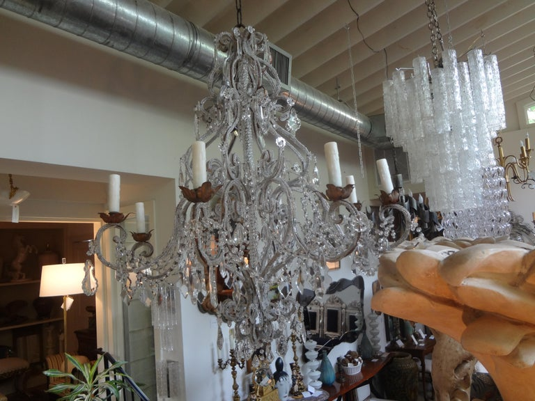 Italian Beaded and Crystal Eight-Light Chandelier For Sale 7