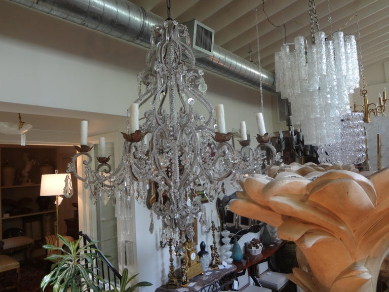 Italian Beaded and Crystal Eight-Light Chandelier For Sale 8