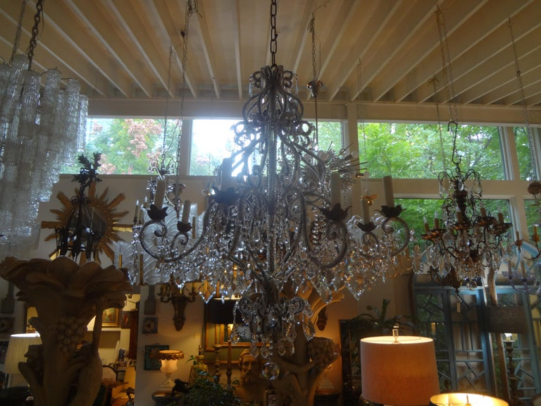 Rococo Italian Beaded and Crystal Eight-Light Chandelier For Sale