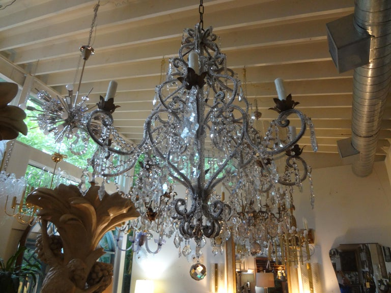 Italian Beaded and Crystal Eight-Light Chandelier In Good Condition For Sale In Houston, TX