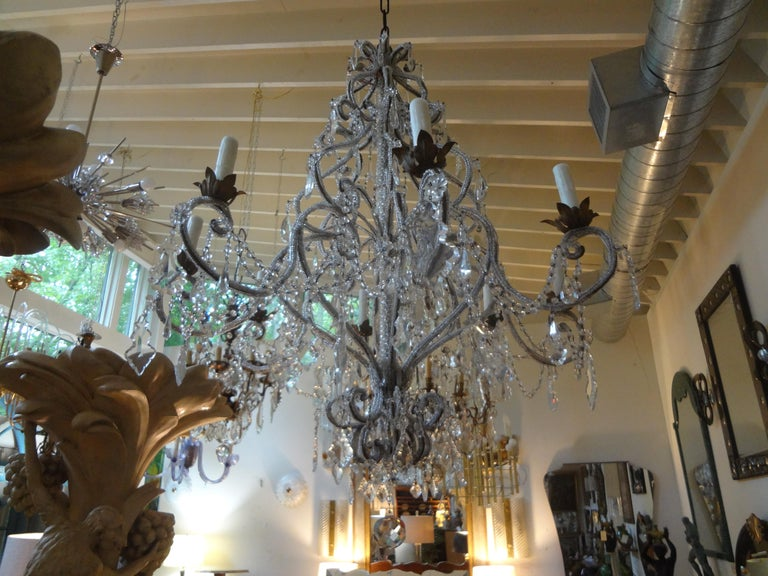 Early 20th Century Italian Beaded and Crystal Eight-Light Chandelier For Sale