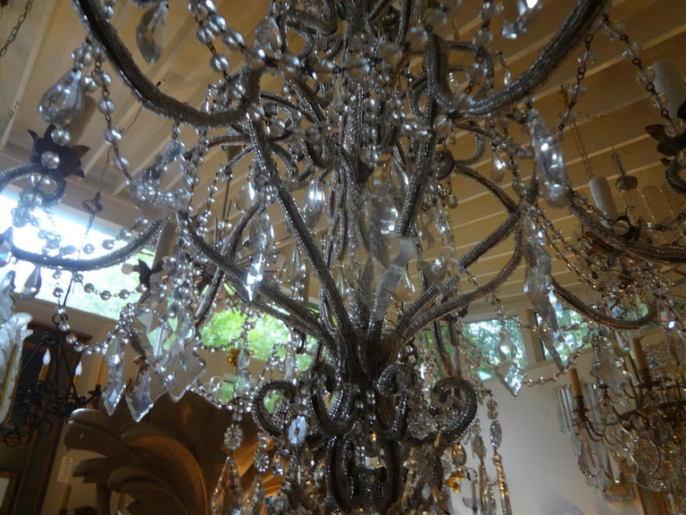 Metal Italian Beaded and Crystal Eight-Light Chandelier For Sale