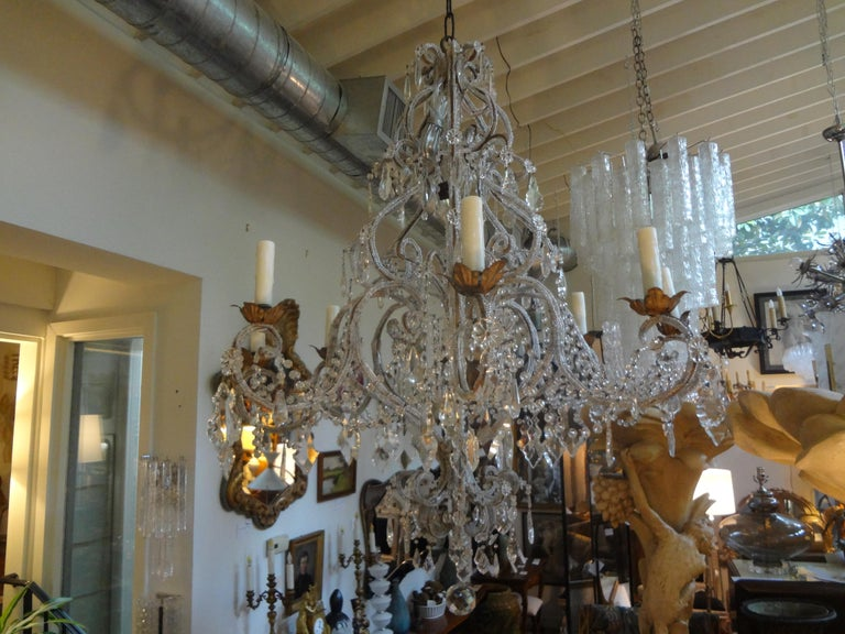 Italian Beaded and Crystal Eight-Light Chandelier For Sale 2