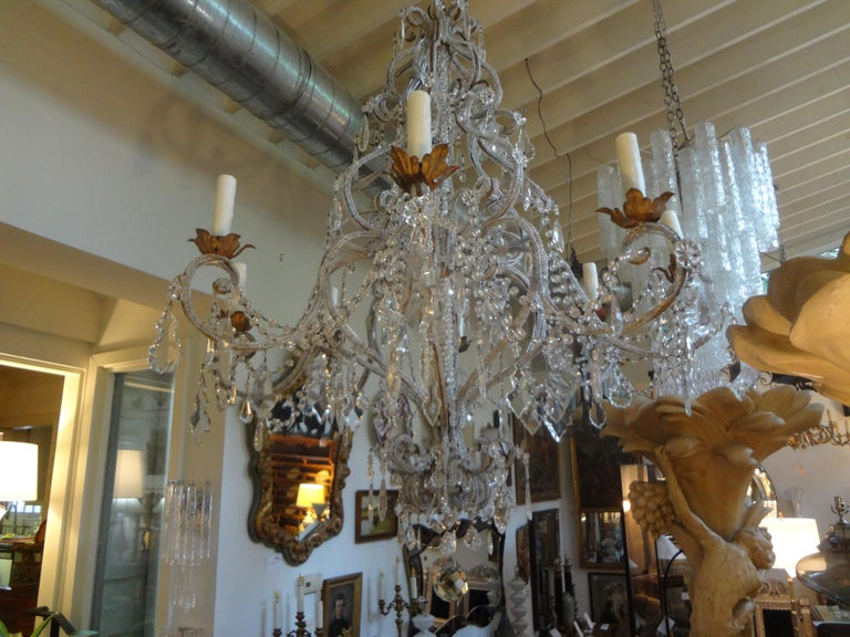 Italian Beaded and Crystal Eight-Light Chandelier For Sale 3