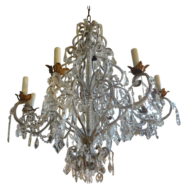 Italian Beaded and Crystal Eight-Light Chandelier For Sale