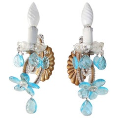 Italian Beaded Aqua Flower Prism Sconces