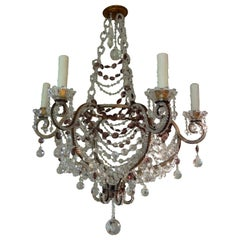 Italian Beaded Clear and Amethyst Crystal Chandelier