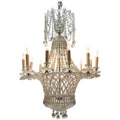 Italian Beaded Crystal 12-Light Basket Form Chandelier