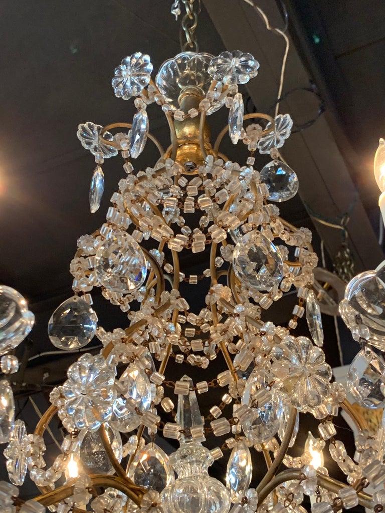 20th Century Italian Beaded Crystal 6-Light Chandelier For Sale