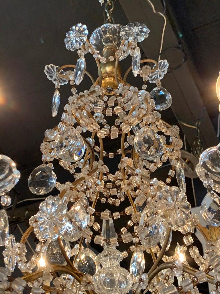Metal Italian Beaded Crystal 6-Light Chandelier For Sale
