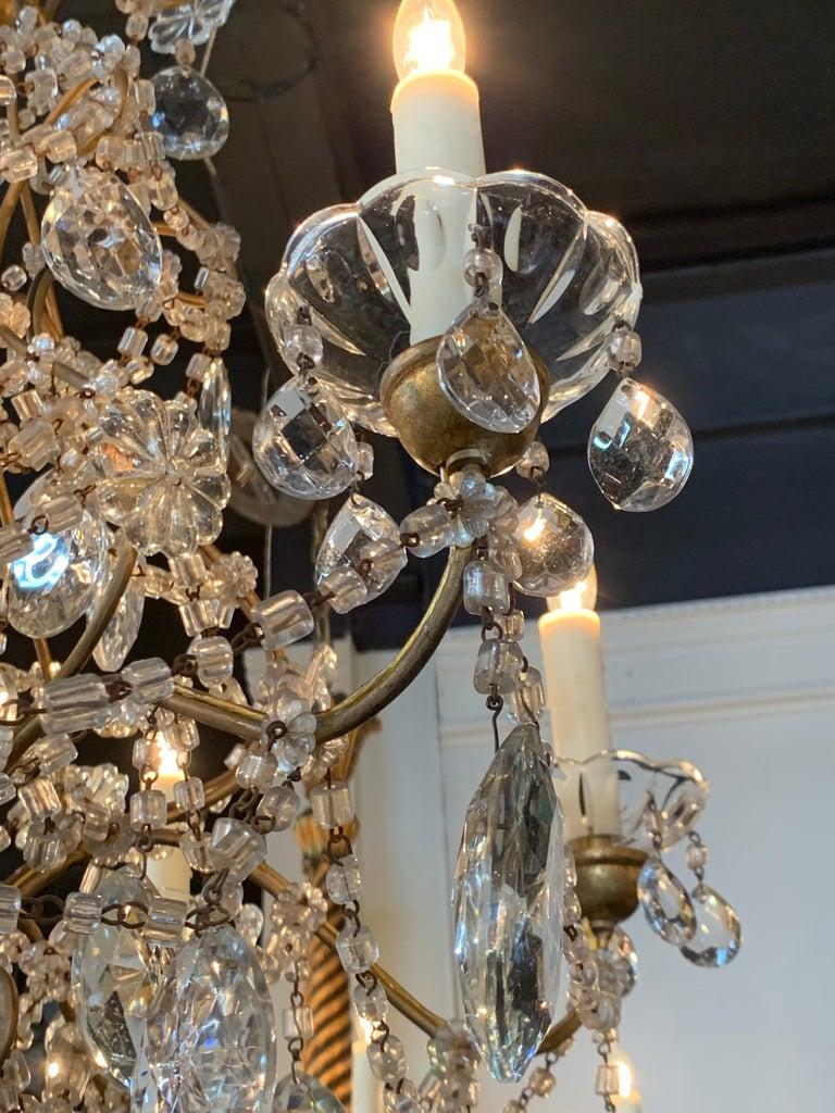 Italian Beaded Crystal 6-Light Chandelier For Sale 1