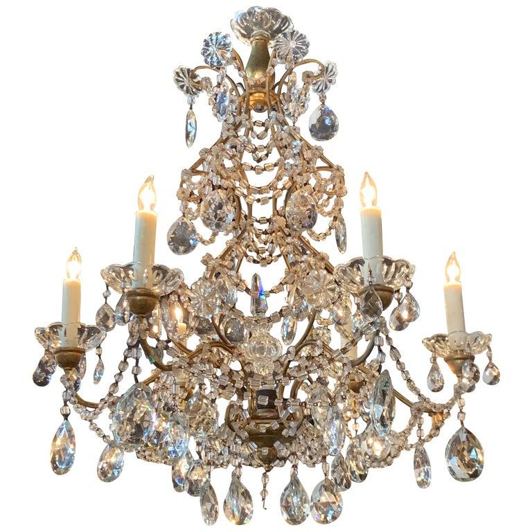 Italian Beaded Crystal 6-Light Chandelier For Sale