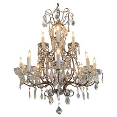 Italian Beaded Crystal Chandelier with 8-Light