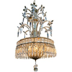 Italian Beaded Crystal Chandelier with Flowers