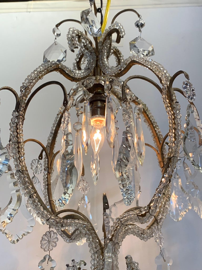 Italian Beaded Single Light Crystal Chandelier In Good Condition For Sale In Dallas, TX