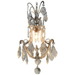Italian Beaded Single Light Crystal Chandelier