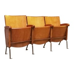 Italian Beech and Iron Cinema Chairs, 1960s