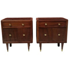 Italian Beech Bedside Tables, 1950s