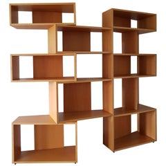 Italian Beech Wood Double Side Bookcase, Bernini Manufacturer