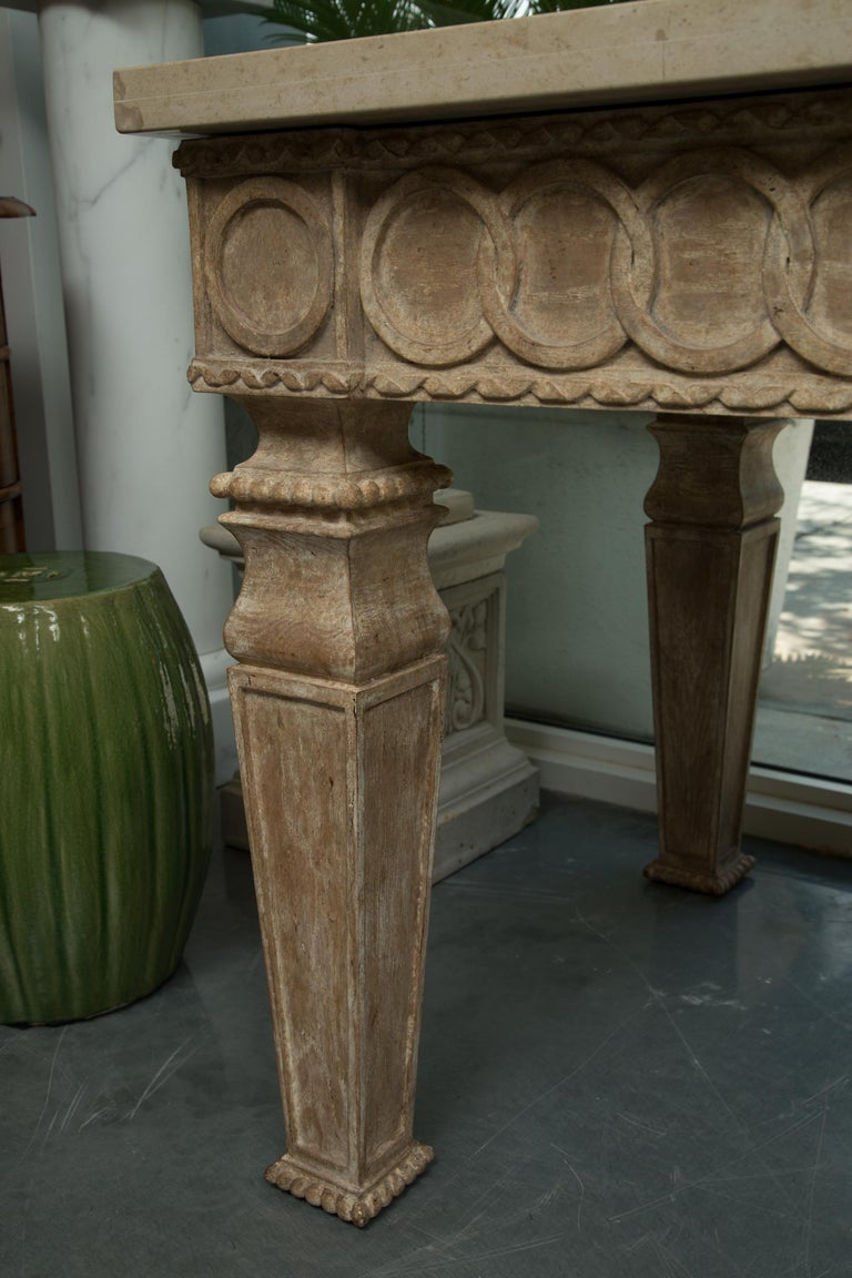20th Century Italian Beechwood Rectangular Center Table with Marble Top For Sale