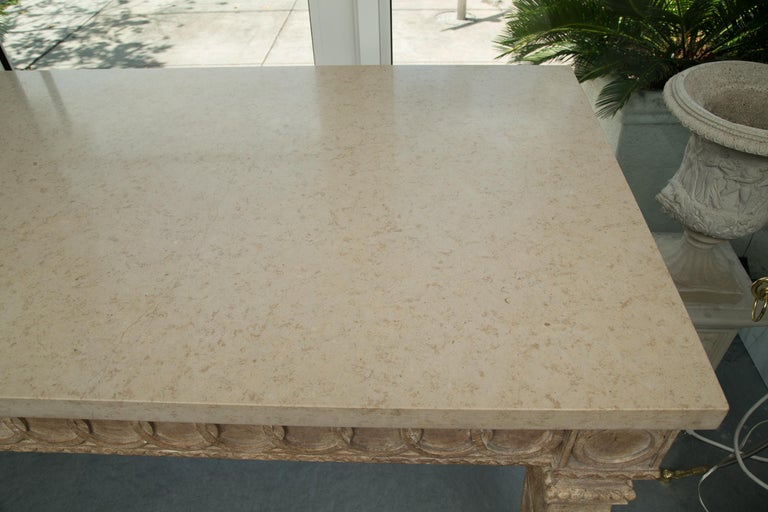 Italian Beechwood Rectangular Center Table with Marble Top For Sale 2