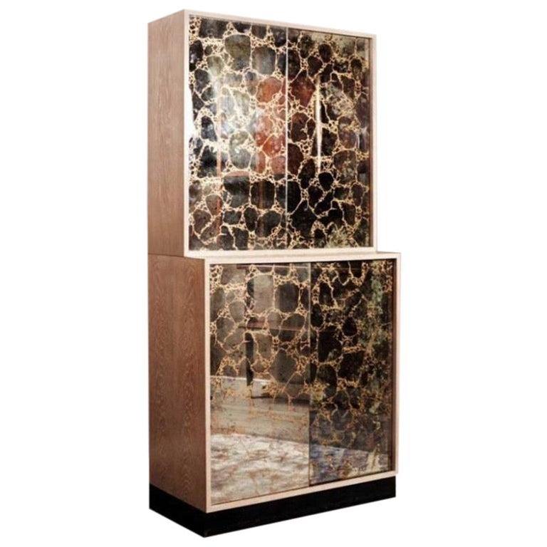 Italian Beechwood Sliding Doors Cabinet, 1970 For Sale