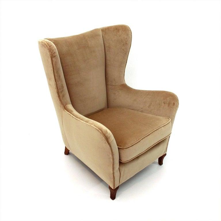 Italienische Beige Samt Sessel 1950er Jahre Bei 1stdibs