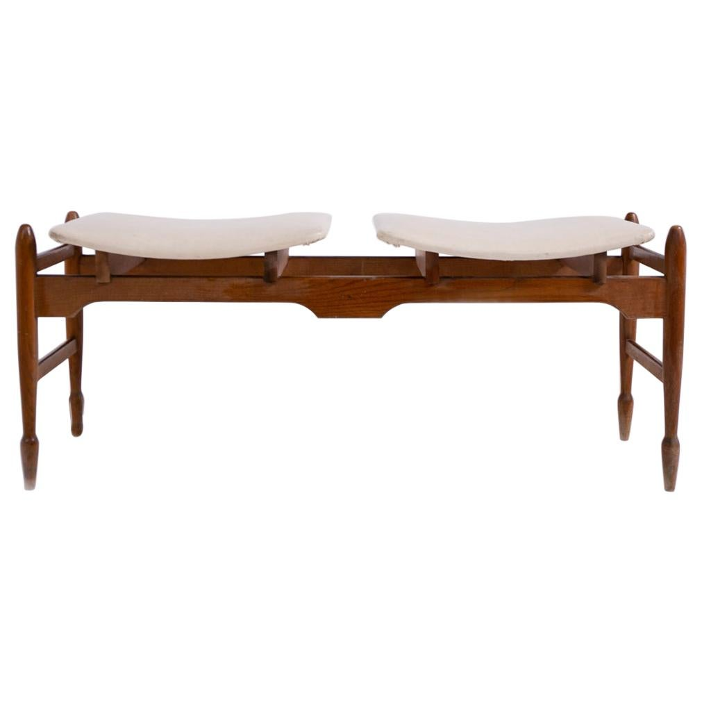 Italian Bench in Wood and Leather, 1950s
