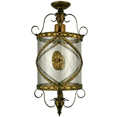 Italian  Bent glass  Brass Lantern