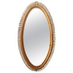 Italian Bent Rattan Oval Wall Mirror, circa 1950